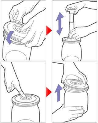 Vakuuminiu indu rinkinys Colopot naudojimas